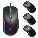 HXSJ J300 7 Keys RGB Lighting Programmable Gaming Wired Mouse (Black)