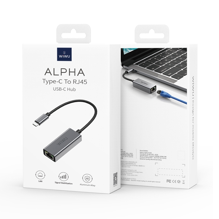 WiWU Alpha RJ45 USB-C / Type-C to RJ45 HUB Adapter