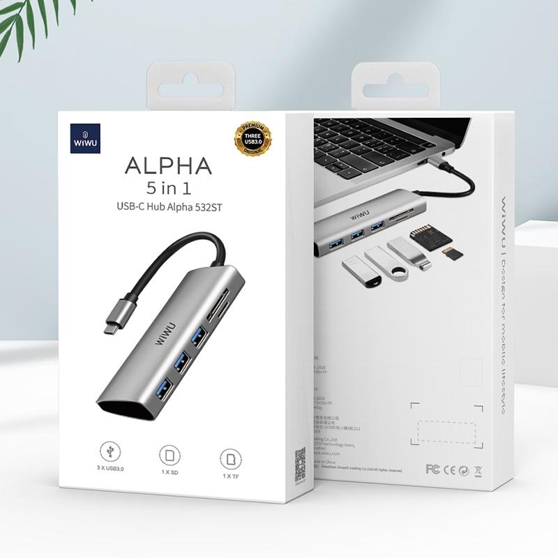 WIWU Alpha 532ST 5 In 1 Multi-function USB-C / Type-C HUB Adapter