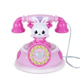 Children Retro Cartoon Telephone Early Education Story Machine Simulation Telephone Toy (Pink)