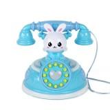 Children Retro Cartoon Telephone Early Education Story Machine Simulation Telephone Toy (Blue)