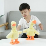 Electric Little Yellow Duck Plush Toy Walk and Sing and Raise Neck Screaming Funny Pet Toy, Style: 24 Songs (Yellow)