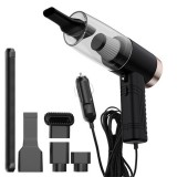 Car Three-in-one Vacuum Cleaner 120W Wet and Dry Dual-use Strong Suction with Aromatherapy Lamp Vacuum Cleaner (Black)