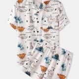 Mens Cute Cartoon Dinosaur Print Revere Collar Loose Casual Two Piece Pajama Set