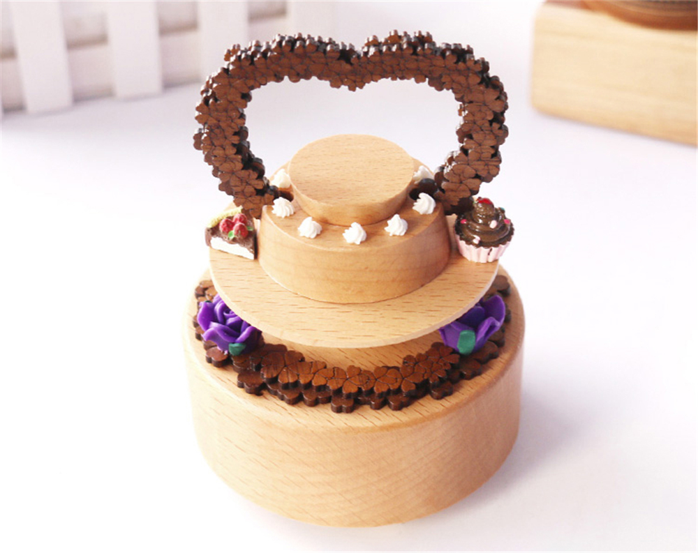 Loving Birthday Cake Rotating Wooden Music Box for Gift