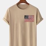100% Cotton American Flag Printing Crew Neck Short Sleeve T-Shirts