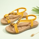 LOSTISY Women Beading Open Toe Elastic Band Soft Sole Casual Flat Sandals