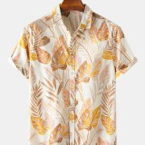 Mens Colorful Tropical Plant Leaves Print Fold Down Collar Short Sleeve Hawaii Casual Shirts