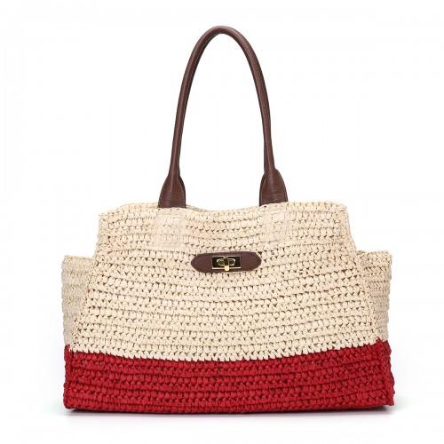 Women Patchwork Straw Shoulder Bag Handbag