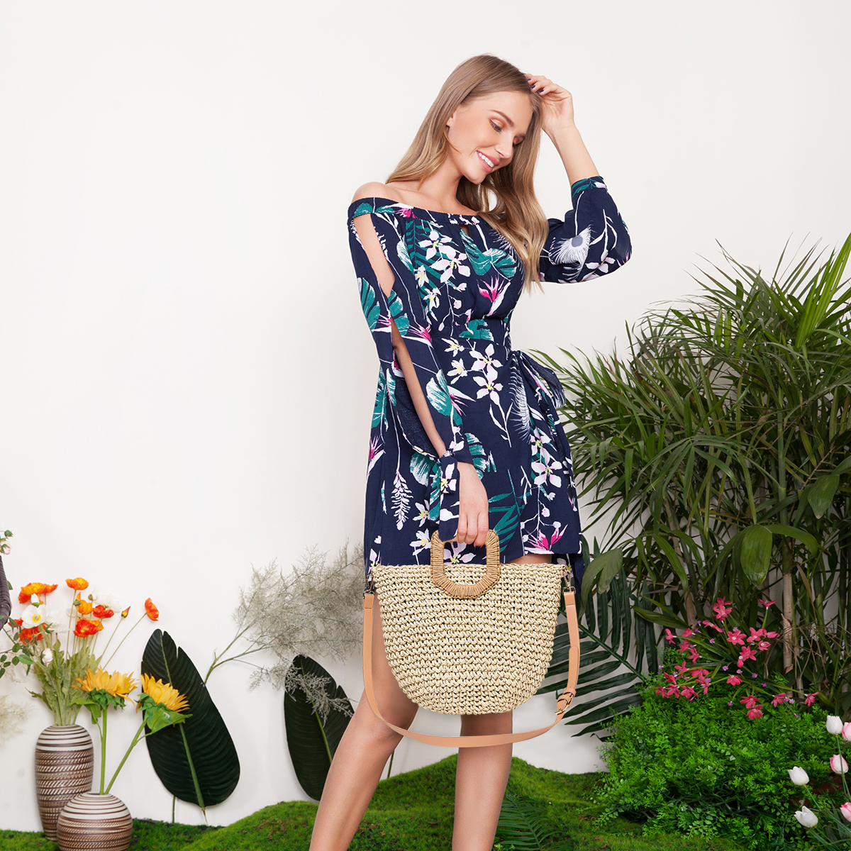 Women Summer Beach Bag Travel Straw Top Handle Big Capacity Handbag