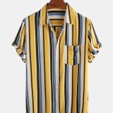 Mens Colorful Stripe Patch Pocket Breathable Casual Holiday Shirts