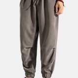 Mens Solid Color Casual Pleated Stretch Bottom Harem Pants