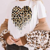 Leopard Star Print White Short Sleeve Daily Casual T-shirts