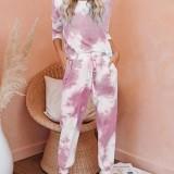 Tie-dye Print Casual Top High Waist Harem Pants Two-Piece Set