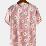 Daisy Floral Print Short Sleeve Crew Neck Casual T-Shirts For Men Women