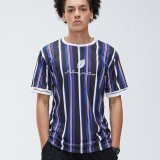 Men Sport Leaf Letter Print Multicolor Striped Crew Neck Short Sleeve Breathable T-Shirts