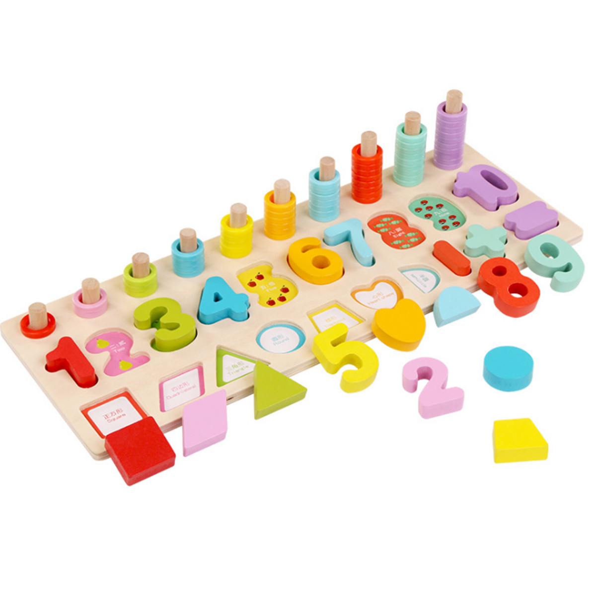 Kids Wooden Math Puzzle Toys Numbers Learning Hand-Eye ...