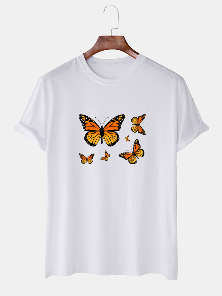 Mens Butterfly Print Crew Neck Short Sleeve Breathable T-Shirts