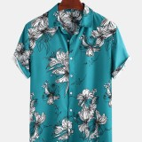 Mens Funny Floral Printing Breathable Loose Fit Casual Short Sleeve Shirts