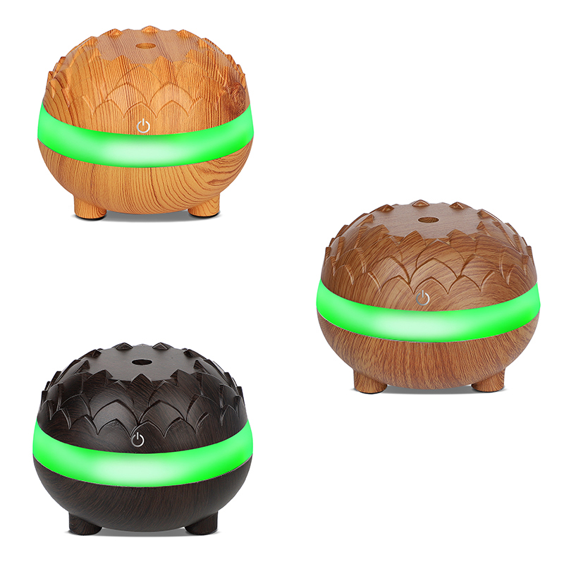 300ml Wood Grain Ultrasonic Air Humidifier Quiet Air Purifier Essential Oil Diffuser with 7 Colors LED Lights