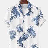 Mens Cotton Tropical Leaves Print Revere Collar Short Sleeve Hawaii Holiday Shirts
