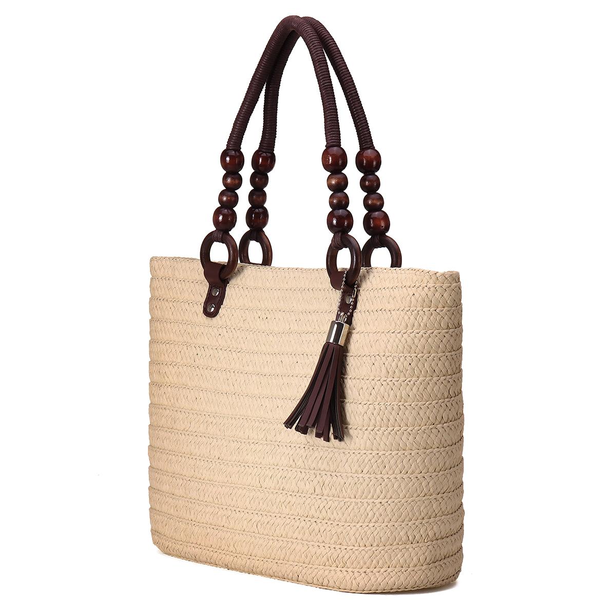 Women Summer Tassel Straw Shoulder Bag Top Handle Satchel Handbag