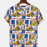 Mens Loose Colorful Label Print Crew Neck Short Sleeve T-Shirts