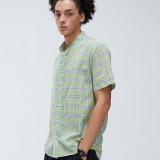 Mens Fashion Plaid 100% Cotton Breathable Short Sleeve Casual Shirts