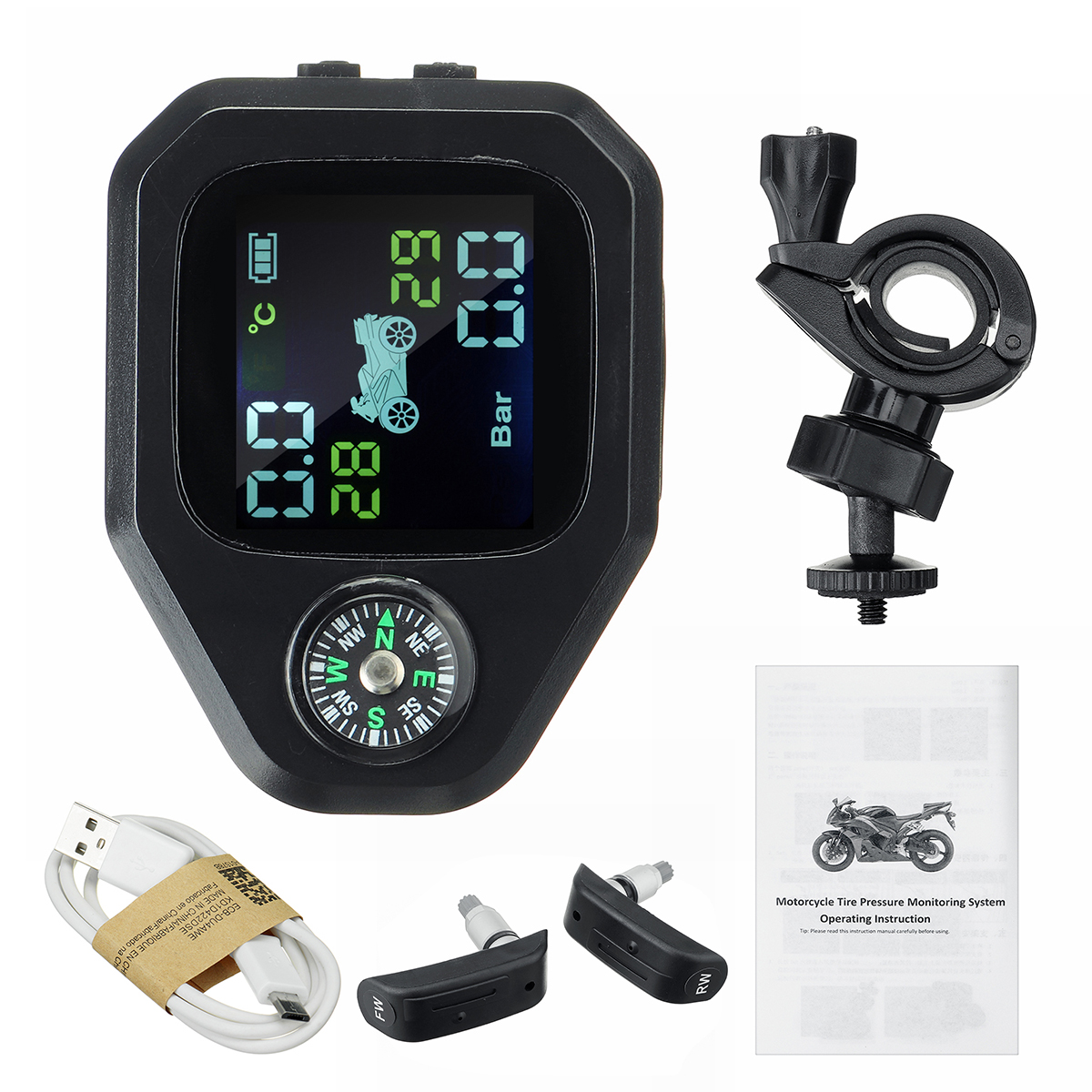 Motorcycle Compass TPMS LCD Display Waterproof Tire Pressure Monitoring System Direction 2pcs Sensor Tire Pressure Alarm Monitoring