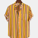 Mens Breathable Colorful Vertical Stripe Button Up Casual Short Sleeve Shirts