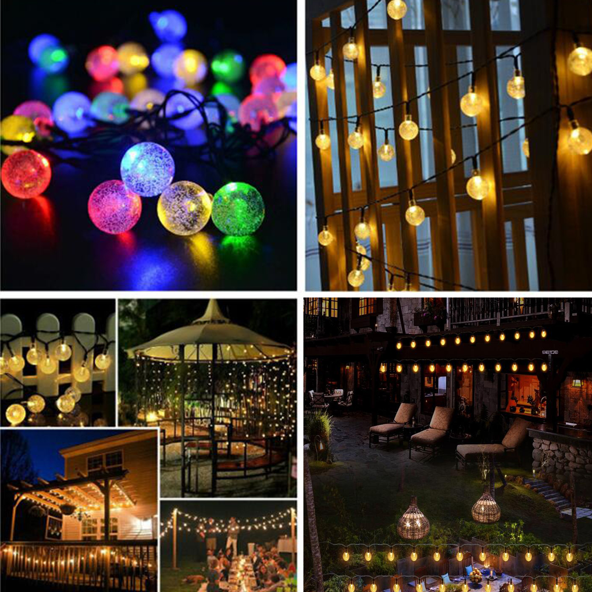 6.5M 30 LED Solar String Ball Lights Outdoor Waterproof Warm White Garden Decor
