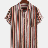Mens Cotton Colorful Striped Patch Pocket Short Sleeve Casual Shirts