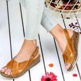 Women Hook Loop Open Toe Slingback Casual Summer Wedge Sandals
