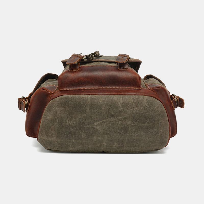 Men Vintage Canvas Leather Wear-resistant Anti-theft Waterproof Backpack Leisure Travel Bag