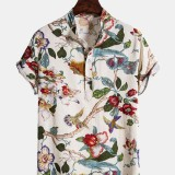 Mens Holiday Classic Floral Printed Short Sleeve Casual Henley Shirts