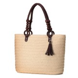 Women Summer Tassel Straw Shoulder Bag Top Handle Satchel Handbag