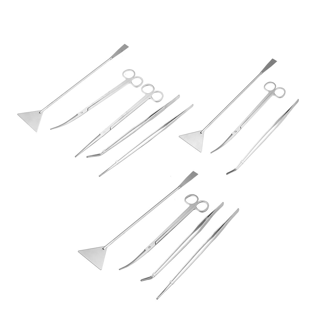 3/4/5Pcs Aquarium Fish Tank Tools Scissors Tweezers Aquatic Stainless Trim Tool