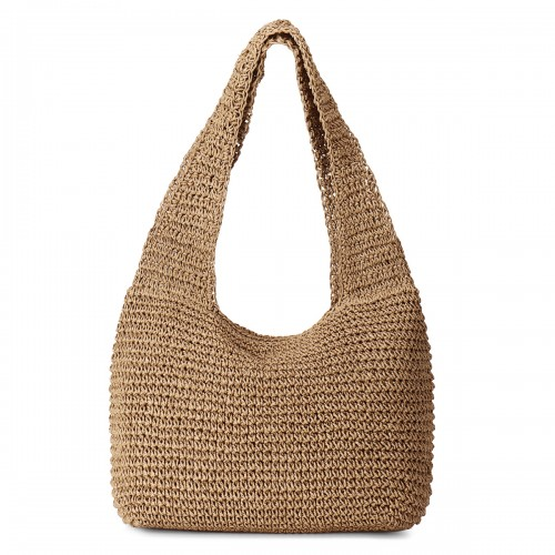 Women Solid Casual Straw Large Capacity Tote Bag Handbag