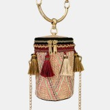 Women Summer Tassel Chains Straw Handbag Crossbody Bag Shoulder Bag