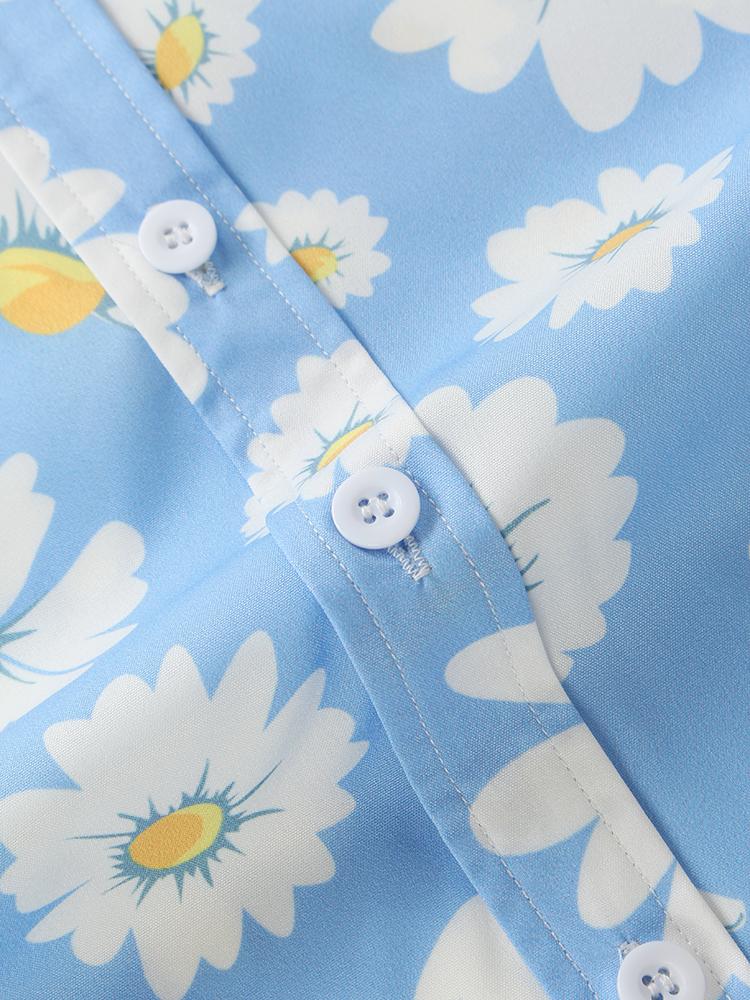 Daisy Spray Floral Printed Breathable Designer Chest Pocket Short Sleeve Shirts For Men Women