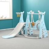 3 IN 1 Large Size Kids Playground Slide & Swing & Basketball Hoop DIY Assembly Set Toys