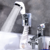Bathroom Wash Face Basin Water Tap External Shower Head High Pressure Toilet Hold Hair Washing Faucet Rinser Extension Set