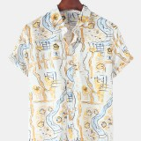 Mens 100% Cotton Funny Graffiti Printed Chest Pocket Short Sleeve Casual Shirts