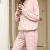 Women Star Print Long Sleeve Pocket Home Casual Two Piece Pajama Set