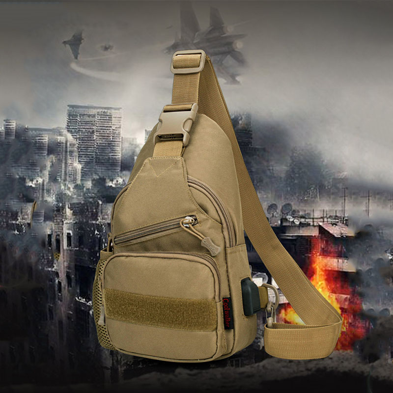 Men USB Waterproof Chest Bag Shoulder Bag Travel Bag Tactical Bag For Outdoor
