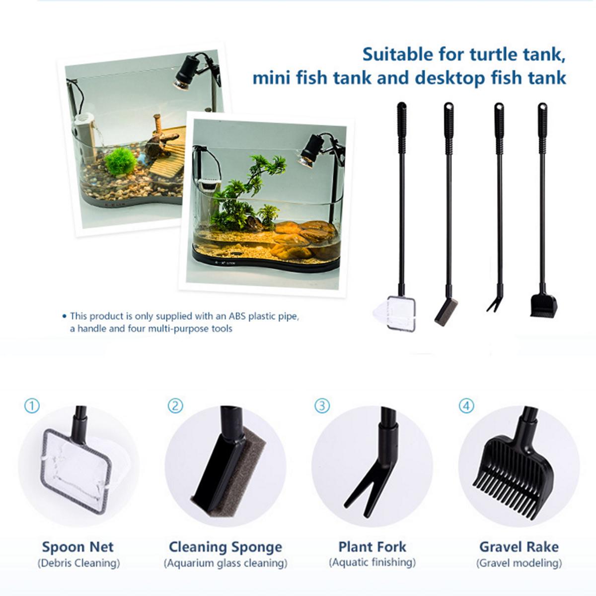 4 in1 Aquarium Cleaning Kit Tool Fish Tank Algae Vacuum Gravel Cleaner Brush Set