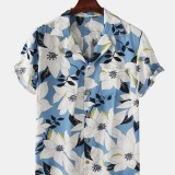 Men Clematis Chinensis Floral Print Chest Pocket Short Sleeve Turn Down Collar Hawaii Style Shirts