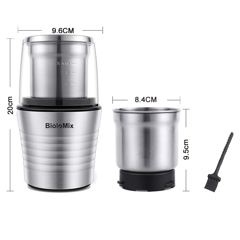 Biolomix 2 in 1 Electric Coffee Grinder Miller Coffee Maker for Spices, Herbs, Nuts, Grains, Coffee Bean Grind