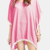 Women Solid Color Tassel Bat Sleeve Sun Protection Cover Ups Sunscreen Beachwear