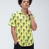 Mens Fashion Cactus Print Turn Down Collar Short Sleeve Shirts